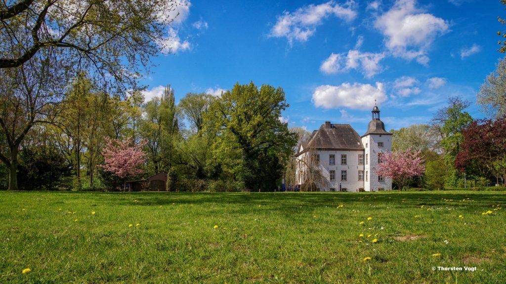 Das Bild zeigt das Wasserschloss Haus Voerde im Sommer