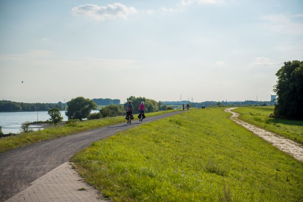 Das Bild zeigt Radfahrer auf dem Rheindeich in Voerde