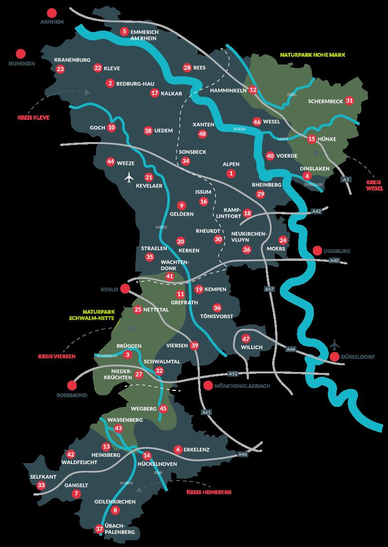 Niederrhein - Karte